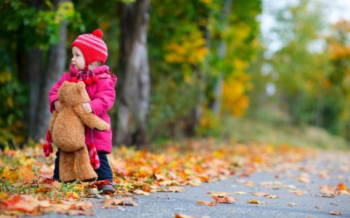 child-girl-bear-toy-autumn-leaves-nature-photo-wallpaper-2560x1600